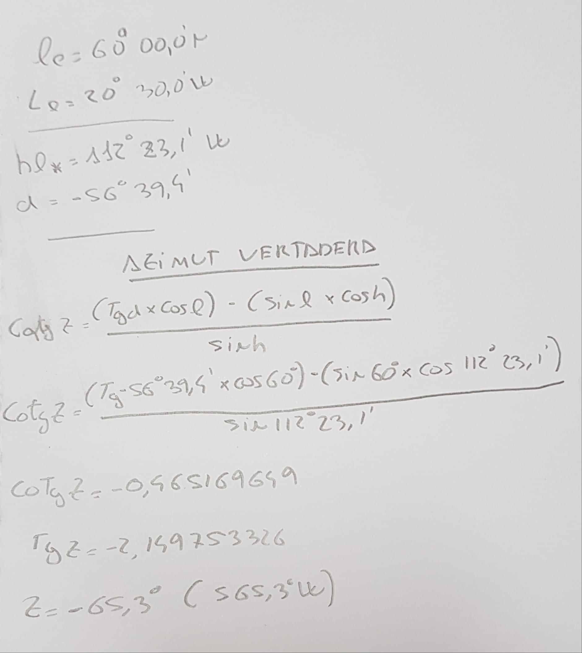 Cálculo Azimut Examen astronomia Capitán de Yate